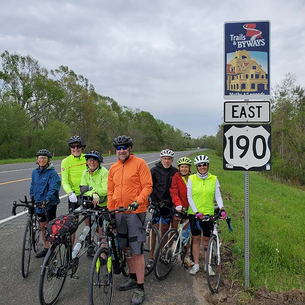 COLA   Day 29 - The Group on the Road, Hwy 190   Epic Cross Country