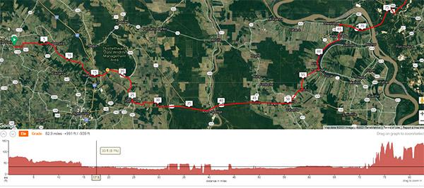 COLA | Day 32 - GPS Screen Shot | Epic Cross Country Bike Tour